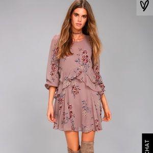 Lulus ASTR Mauve Floral Print Dress